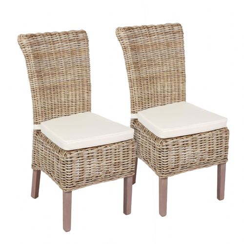 Wicker Chair Including Cushion Set of 2